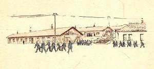 Mattransport i Flossenbürg. Teckning av lägerfången Stefan Kryszczak.