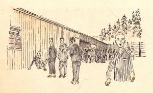 Framför Block 23 i Flossenbürg. Teckning av lägerfången Stefan Kryszczak. Kohout satt i Block 6.