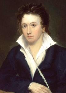 Percy Bysshe Shelley porträtterad 1819 av Alfred Clint.