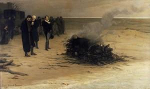 Shelley kremeras på stranden efter båtolyckan i La Speziabukten vid Lerici i Ligurien. kremera