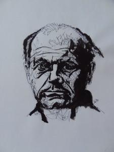 Bohumil Hrabal (teckning: Sten Wistrand)