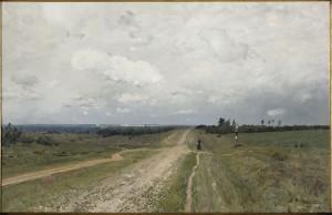 """""""Vägen till Vladimir"""", målad 1892 av Isaak Levitan. Det ser ut som en oskyldig landskapsmålning, men den visar den tröstlösa väg som fångarna vandrade österut till lägren."""
