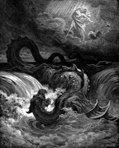 """Leviatan enligt Gustav Doré. """"Kan du draga upp Leviatan med krok och med en metrev betvinga hans tunga? Kan du sätta en sävhank i hans nos eller borra en hake genom hans käft? Menar du att han skall slösa på dig många böner eller tala till dig med mjuka ord? Att han skall vilja sluta fördrag med dig, så att du finge honom till din träl för alltid? Kan du hava honom till leksak såsom en fågel och sätta honom i band åt dina tärnor? Pläga fiskarlag köpslå om honom och stycka ut hans kropp mellan krämare? Kan du skjuta hans hud full med spjut och hans huvud med fiskharpuner? Ja, försök att bära hand på honom du skall minnas den striden och skall ej föra så mer. Nej, den sådant vågar, hans hopp bliver sviket, han fälles till marken redan vid hans åsyn."""" (Jobs bok, citerat i filmen.)"""