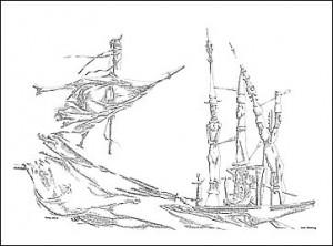 Folke Dahlberg: Bateau ivre (Den berusade båten - ursprungligen en dikt av Rimbaud).