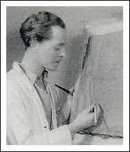 Folke Dahlberg arbetar med en offentlig utsmyckning till Askersund (tidigt 1940-tal).